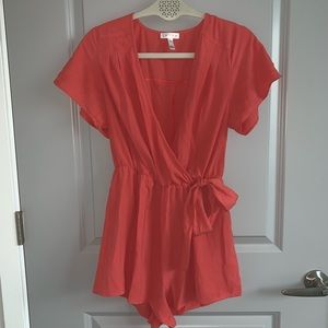Women's coral pink romper